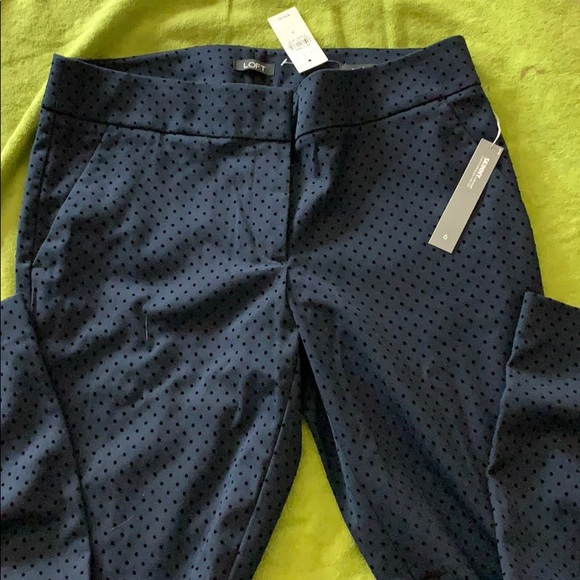 LOFT Pants - Loft Julie fit navy polka dot pants